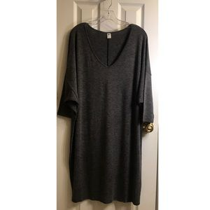 Old Navy Gray Knit Dress Short Sleeve V-nec 1X NWT